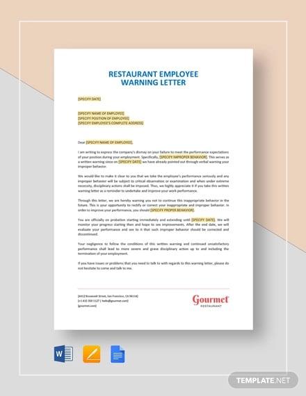 restaurant employee warning letter template