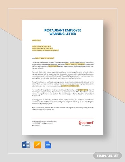 restaurant employee warning letter template1