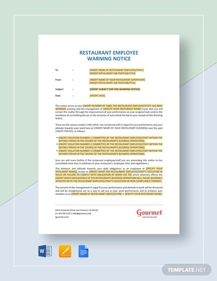 restaurant employee warning notice template
