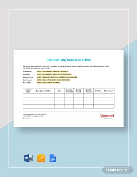 restaurant requisition transfer form template1