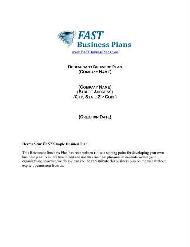 restaurant sample business plan