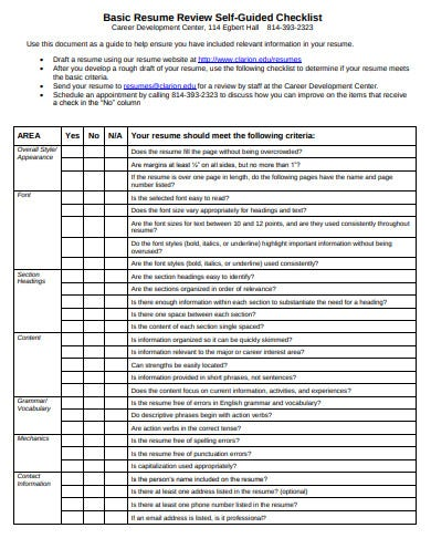 10 Resume Review Checklist Templates In Pdf Doc Free