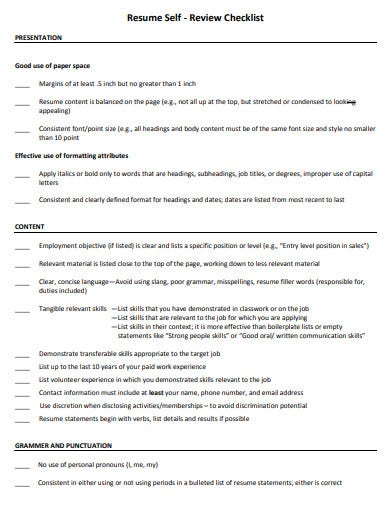 10  resume review checklist templates in pdf