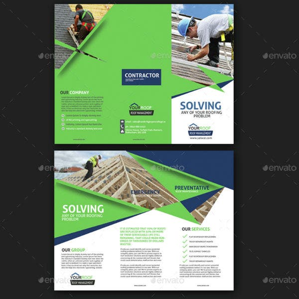 roof repair service trifold brochure
