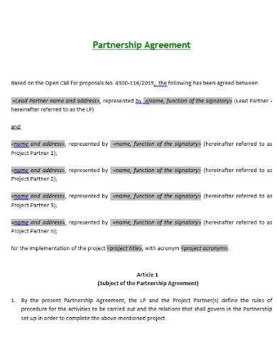 samll business investment partnership agreement template