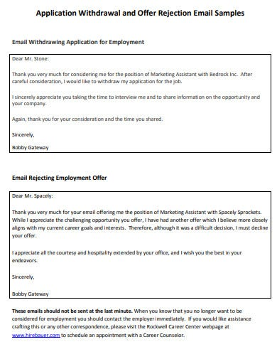 sample candidate rejection email template