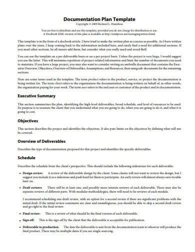 sample documentation plan template