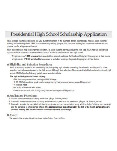 sample high school scholarship application