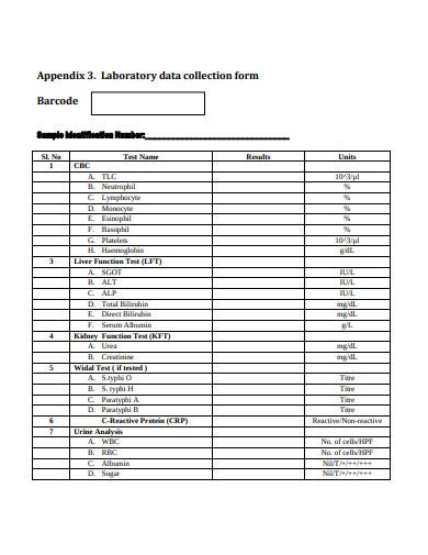 sample laboratory data collection form