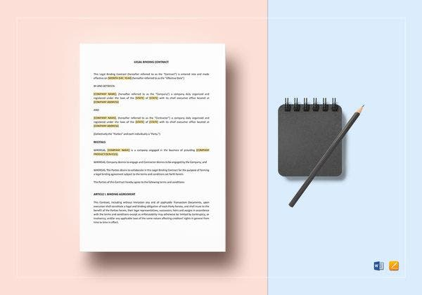 sample legal binding contract template 600x420