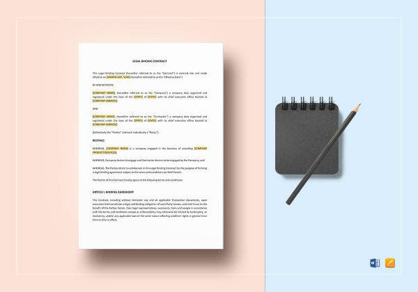 sample legal binding contract template