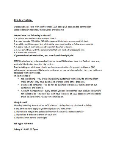 sample outbound sales job description