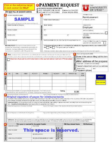 sample payment request