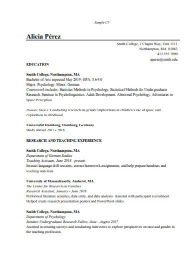 sample research assistant cv template