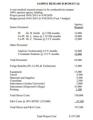 sample research budget proposal