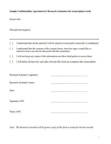 sample research confidentiality agreement template