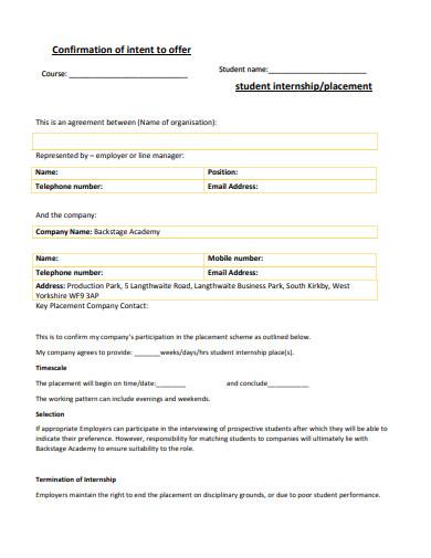 sample student internship placement agreement