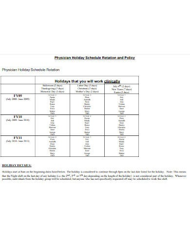 schedule rotation policy template