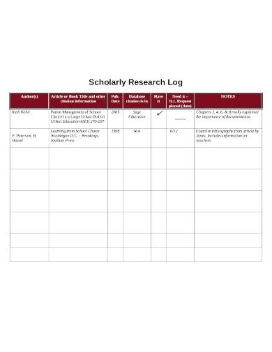 scholarly research log