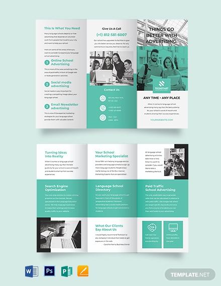 school advertising tri fold brochure template