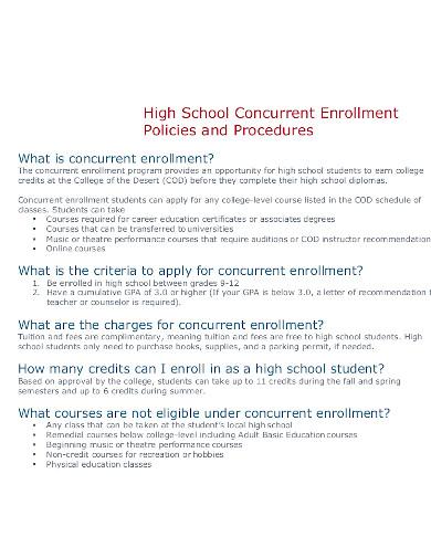 school concurrent enrollment class policy