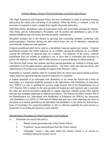 school suspension and expulsion policy