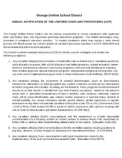 school uniform complaint policy and procedure