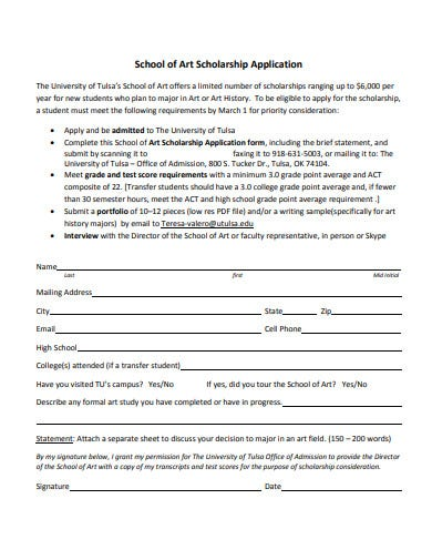 school of art scholarship application form