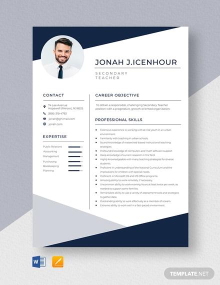 secondary teacher resume template