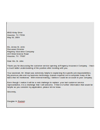 short thank you email after insurance co interview
