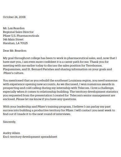 short thank you email after sales position interview