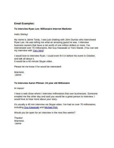 simple interview invitation email