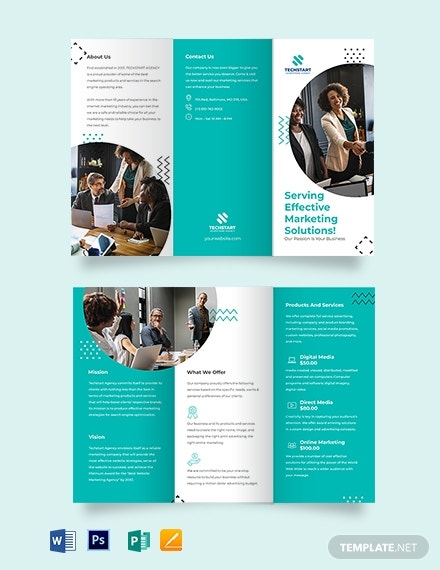 small business advertising tri fold brochure template