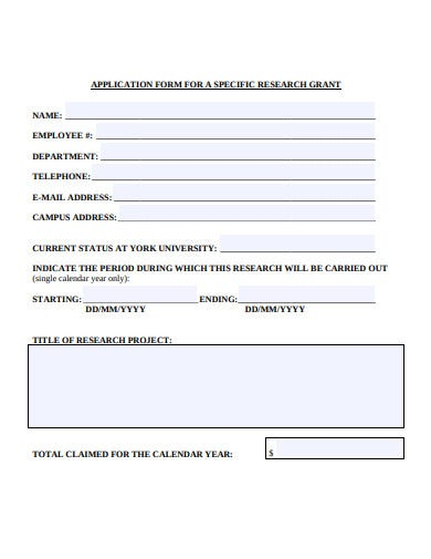 specific research grant application form