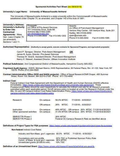 sponsored research activities fact sheet template