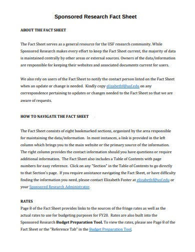 sponsored research fact sheet template