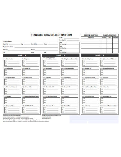 standard data collection form template
