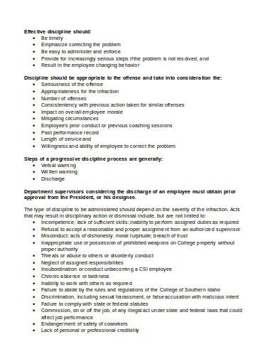 standard employee discipline