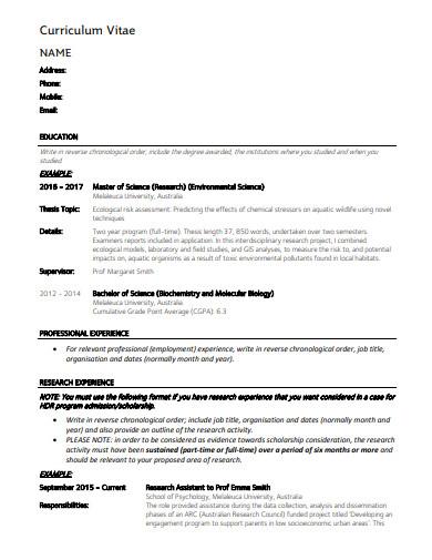 standard research assistant cv template