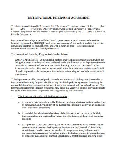 standard student internship placement agreement