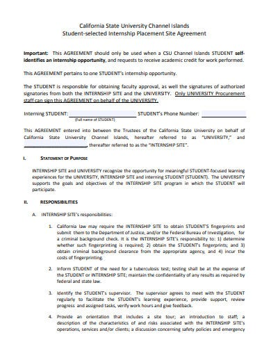 student‐selected internship placement site agreement template