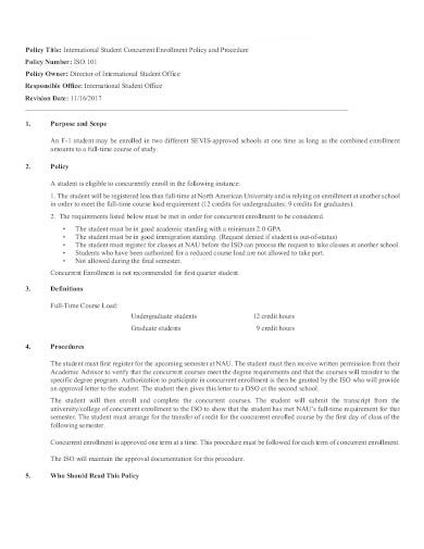 student concurrent enrollment class policy