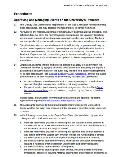 student freedom of expression policy procedures