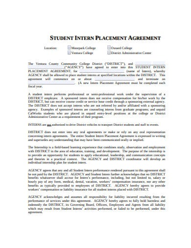 student intern placement agreement