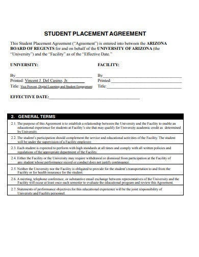 student internship placement agreement example