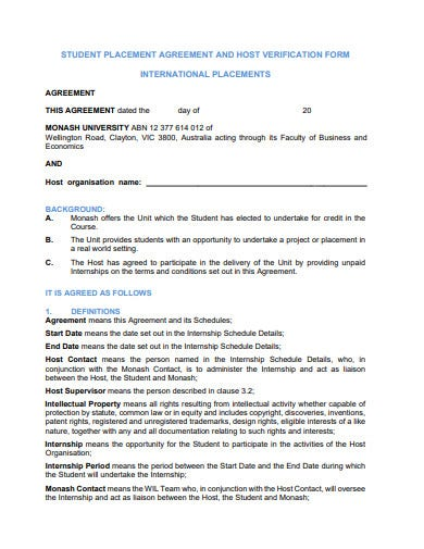 student internship placement agreement form