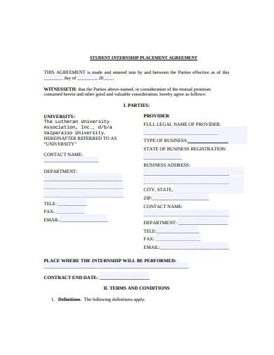 student internship placement agreement template