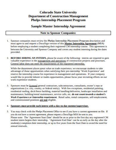 student internship placement agreement in pdf