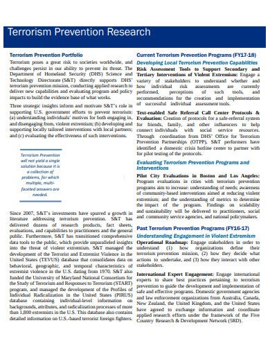 terrorism prevention research fact sheet template