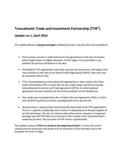 trade investment partnership agreement templates
